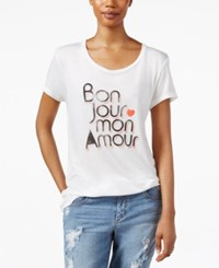Rachel Rachel Roy Short Sleeve Graphic T Shirt Off White