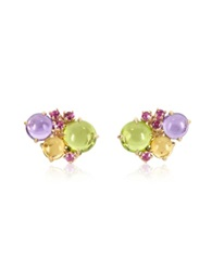 Mia And Beverly Gemstones 18K Rose Gold Earrings Green