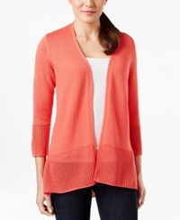 Jm Collection Open Front Crochet Hem Cardigan Only At Macy's