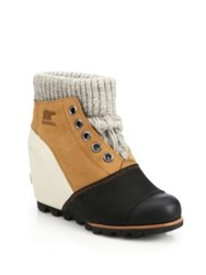 Sorel Joanie Sweater Leather Wedge Booties Elk