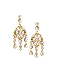 Kenneth Jay Lane Golden Pearly Statement Drop Earrings