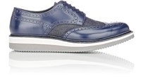 Prada Men's Leather And Denim Wedge Wingtip Bluchers Navy
