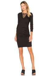 Pam And Gela Lace Up Ruched Dress Black