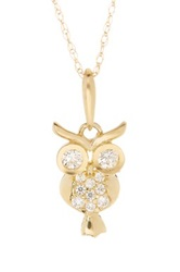 Candela 10K Yellow Gold Pave Crystal Owl Pendant Necklace Metallic