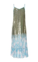 Manoush Sequin Faded Rose Maxi Dress Silver Blue White