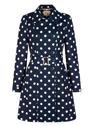 Yumi Polka Dot Print Trench Coat Navy