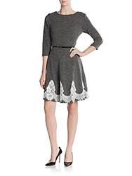 Eci Tweed Belted Lace Hem Dress Black White