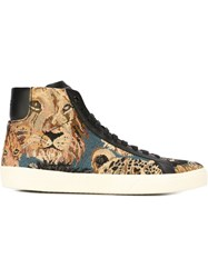 Saint Laurent Wild Cat Jacquard Hi Tops Brown