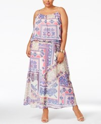 Ny Collection Plus Size Printed Popover Maxi Dress Lilac Hoop