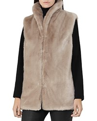 Reiss Meyer Faux Fur Vest Soft Gray