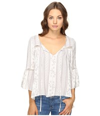 Brigitte Bailey Ebba Bell Sleeve Top With Lace Inset Off White Taupe Women's Clothing