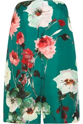 Delpozo Floral Print Cotton And Silk Blend Playsuit Green