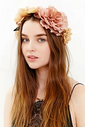 Urban Outfitters Watercolor Flower Crown Neutral