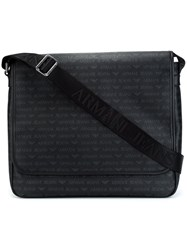 Armani Jeans Logo Print Shoulder Bag Black
