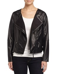 Max Studio Asymmetric Zip Faux Leather Jacket Black