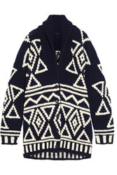 J.Crew Oversized Fair Isle Wool Cardigan Navy