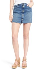 Women's Mother 'The Snap Down' Raw Edge Denim Miniskirt Heart Of Glass