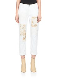 Stella Mccartney Metallic Patchwork Skinny Boyfriend Jeans Optical White