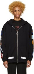 Off White Black Patches Hoodie