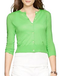 Lauren Ralph Lauren Cropped Knitted Cardigan Coventry Green