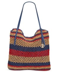 Giani Bernini Striped Woven Tote Only At Macy's Red Multi