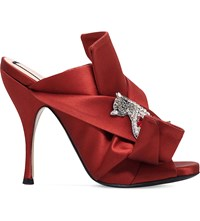 No 21 Bow And Cat Embellished Satin Mules Rust