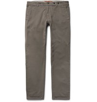 Barena Slim Fit Stretch Cotton Twill Trousers Sand