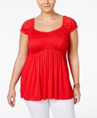 American Rag Plus Size Cap Sleeve Babydoll Top Chinese Red