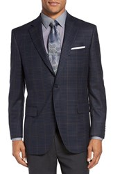 Peter Millar Men's Big And Tall 'Flynn' Classic Fit Check Wool Sport Coat Blue