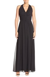Women's Dessy Collection Ruched Chiffon V Neck Halter Gown Black