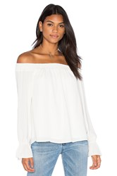 Three Eighty Two Evangeline Off Shoulder Long Sleeve Top Ivory