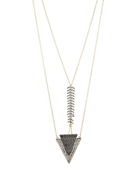 Lydell Nyc Layered Triangle Pendant Necklace W Rhinestone Pave