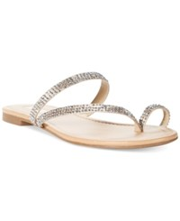 Inc International Concepts Women's Mistye Rhinestone Thong Flat Sandals Only At Macy's Women's Shoes Bisque
