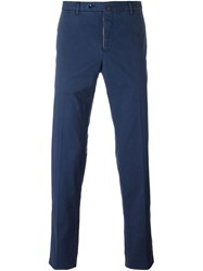Pt01 Yellow Detail Straight Trousers Blue