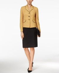 Le Suit Colorblocked Three Button Skirt Yellow Black