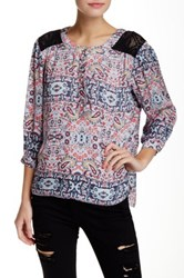 Gypsy05 Lace Yoke 3 4 Length Sleeve Blouse Pink