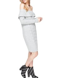 Miss Selfridge Cable Bardot Dress Grey