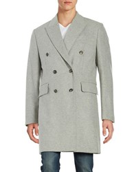 Hardy Amies Double Breasted Cashmere Blend Coat Light Grey