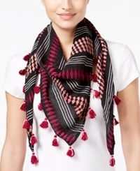 Collection Xiix Space Dyed Striped Triangle Scarf Black Bright
