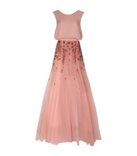 Monique Lhuillier Embellished Tulle Gown Female Pink