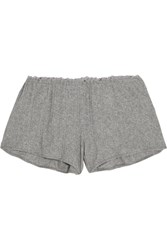 Skin Lace Trimmed Ribbed Pima Cotton Pajama Shorts Gray