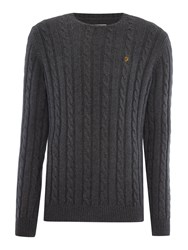 Farah Norfolk Cable Knit Crew Neck Jumper Charcoal