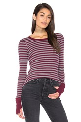 Michael Stars Thermal Striped Sweater Gray