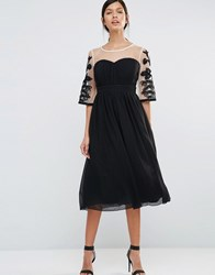 Little Mistress Skater Dress With Contrast Embroidered Sleeves Black