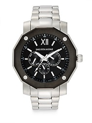 Saks Fifth Avenue Stainless Steel Multi Function Watch Silver