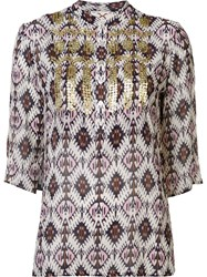 Figue 'Jasmine' Ikat Print Embellished Tunic Top Multicolour