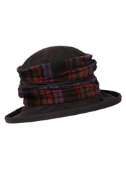 Dents Ladies Waxed Cotton Checkered Hat Amethyst