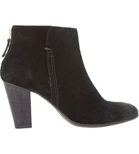 Dune Pharah Suede Back Zip Heeled Ankle Boots Black Suede