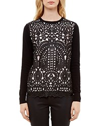 Ted Baker Lace Front Sweater Black