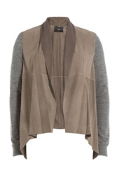 Steffen Schraut Cosy Cardigan With Suede And Merino Wool Brown